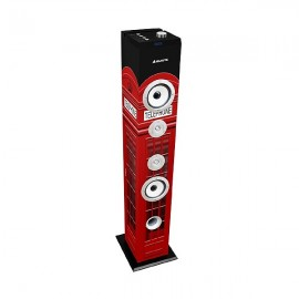 Majestic Cassa A Torre Bass 60W Subwoofer Bluetooth 2.1 Fm-USB-Sd-mmc Aux Red Telephone Box TS-85