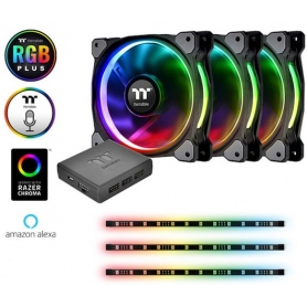Thermaltake Kit Riing 12 RGB 3 Ventole Case 120X120mm + 3 Strisce LED Multicolor 30Cm + Controller CL-F076-PL12SW-A