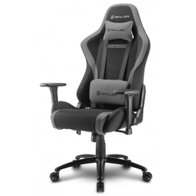 Sharkoon Gaming Chair Skiller Sgs2 Tessuto, Braccioli e Schienale Reg., Acciaio, 2 Cuscini Supp Cervicale e Lombare, Black-Grey